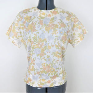 Vintage   1960s Muted Floral Blouse (B2)